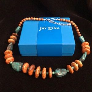 """Jay King 20"""" Blue & Chocolate Turquoise Necklace"""